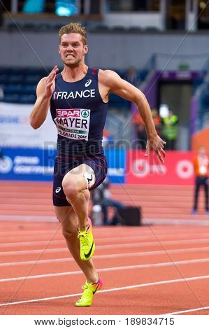BELGRADE SERBIA - MARCH 3-5 2017: MAN 60M HEPTATHLON MAYER KEVIN EUROPEAN ATHLETICS INDOOR CHAMPIONSHIPS IN BELGRADE SERBIA
