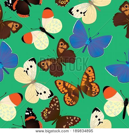 Seamless pattern with seven different common butterflies;