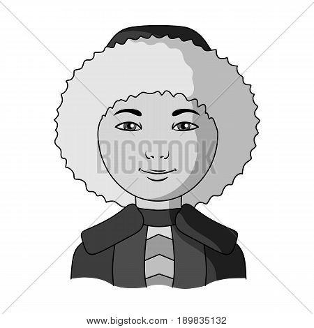 Eskimo. Human race single icon in monochrome style vector symbol stock illustration .