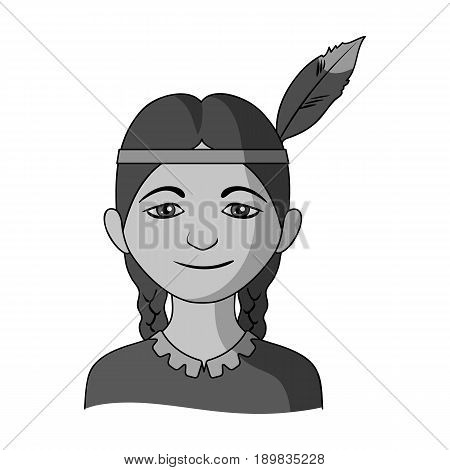 Indian.Human race single icon in monochrome style vector symbol stock illustration .
