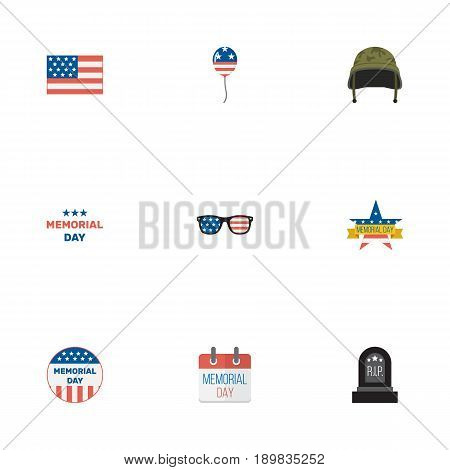Flat Memorial Day, Holiday, Usa Badge And Other Vector Elements. Set Of Day Flat Symbols Also Includes Memorial, Spectacles, Calendar Objects.