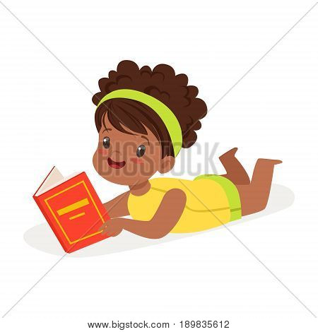 Sweet african girl lying on the floor and reading a book, colorful cartoon character vector Illustration isolated on a white background