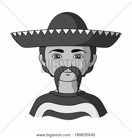 Mexican.Human race single icon in monochrome style vector symbol stock illustration .