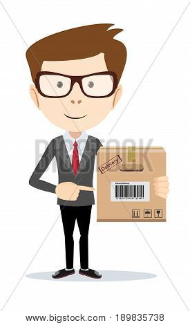 Smiling modern business man pointing to a large cardboard box. Stock Vector illustration of a cartoon