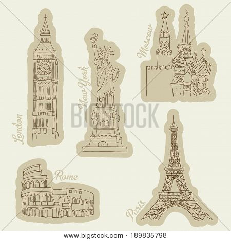 Travel Images Icons Set with famous signs of New York and Paris vector illustration