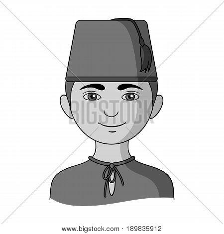 Turk..Human race single icon in monochrome style vector symbol stock illustration .