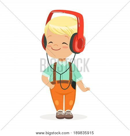 Smiling little boy listening to music in headphones, colorful cartoon character vector Illustration isolated on a white background