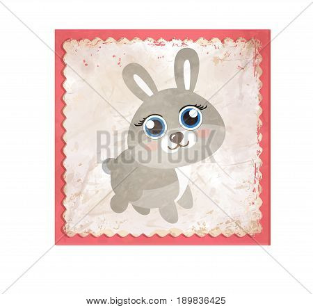 Hare or rabbit cartoon character. Grey hare flat vector. Animal illustration for zoo ad, nature concept, children book illustrating