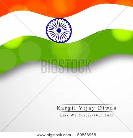 illustration of India flag with kargil vijay diwas text