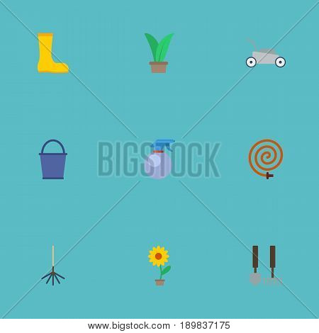 Flat Lawn Mower, Plant, Spray Bottle And Other Vector Elements. Set Of Gardening Flat Symbols Also Includes Plant, Rubber, Spray Objects.