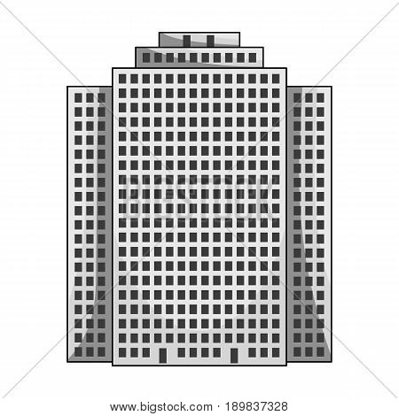 High-rise building, skyscraper, Realtor single icon in monochrome style vector symbol stock illustration .