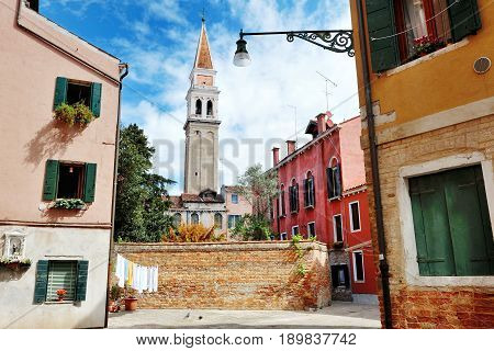 Burano Venice Italy - view of bell tower and colorful buildings