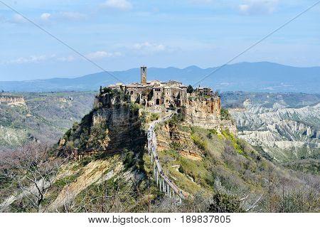 Civita di Bagnoregio Italy - ancient medieval village panoramic view