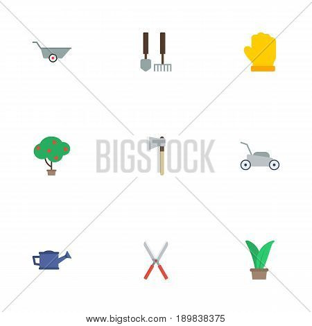 Flat Axe, Green Wood, Lawn Mower And Other Vector Elements. Set Of Horticulture Flat Symbols Also Includes Pruner, Cutter, Garden Objects.