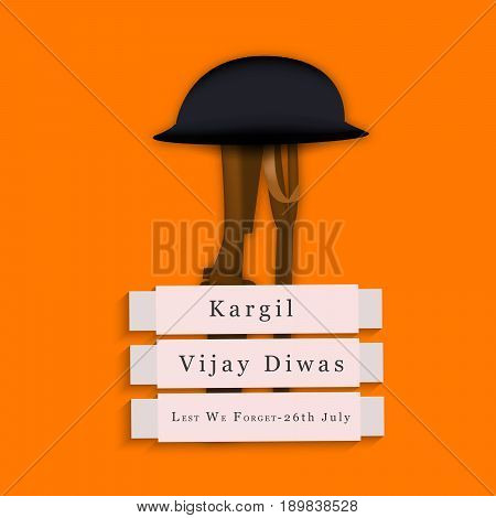 illustration of Rifle in hat with kargil vijay diwas text