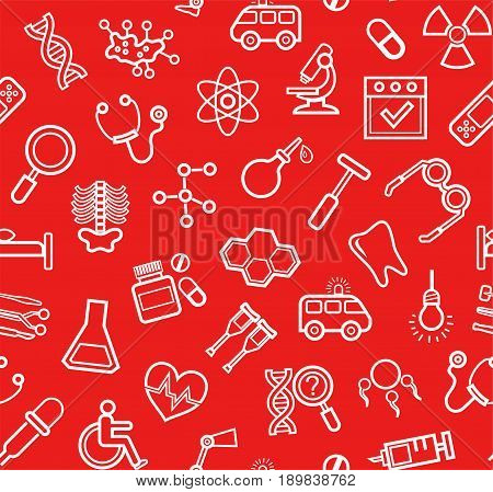 Medicine, red background, seamless, contour icons, vector. White, line drawings, medical services and instruments on a red field. Vector background.