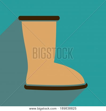 Flat icon with long shadow  ugg boots
