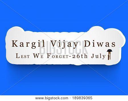 illustration of kargil vijay diwas text wit Rifle in hat