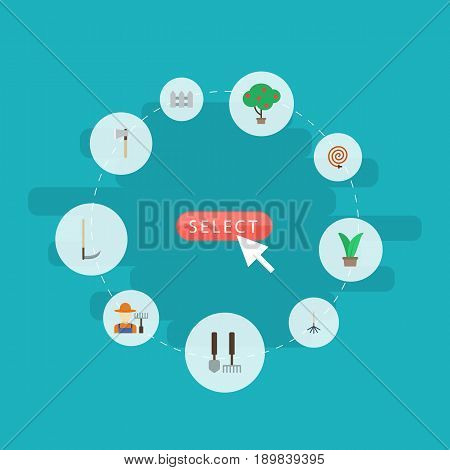 Flat Fence, Plant, Garden Hose And Other Vector Elements. Set Of Gardening Flat Symbols Also Includes Fruit, Hedge, Hosepipe Objects.