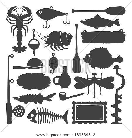 Vector Fisherman Monochrome Handdrawn Objects & Items Set