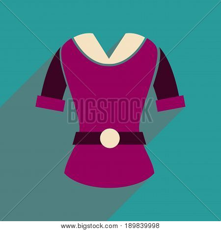 Flat icon with long shadow  women's blouse