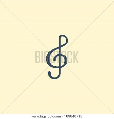 Flat Treble Clef Element. Vector Illustration Of Flat Quaver Isolated On Clean Background. Can Be Used As Clef, Note And Quaver Symbols.