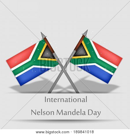 illustration of South Africa flags with International Nelson Mandela Day Text