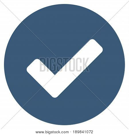 Blue Yes interface toolbar pictogram. Vector pictograph style is a flat symbol on diagonal hatch transparent background.