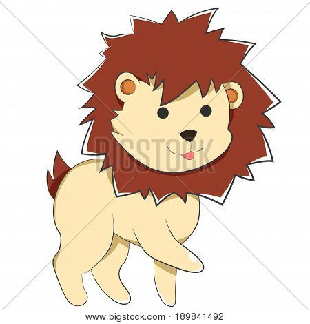 Happy Cartoon Baby Lion, A Cartoon Yellow Lion with small round black Anime eyes, furry and pointy dark brown mane, cute tiny tail and a cute, joyful face. sticking out His short Hand, wanting to do a handshake of Friendship with You.