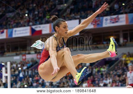 BELGRADE SERBIA - MARCH 3-5 2017: WOMAN LONG JUMP PENTATHLON SPANOVIC IVANA EUROPEAN ATHLETICS INDOOR CHAMPIONSHIPS IN BELGRADE SERBIA