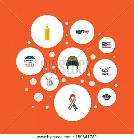 Flat Soldier Helmet, Fire Wax, Usa Badge And Other Vector Elements. Set Of Memorial Flat Symbols Also Includes Headgear, Military, Soldier Objects.