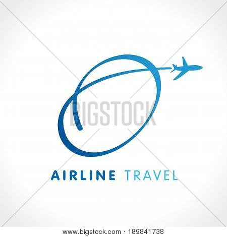 O letter travel company logo. Airline business identy travel logo design with emblem