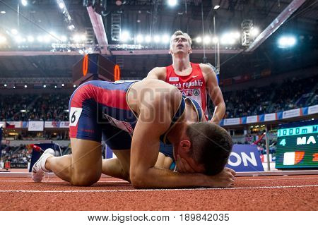 BELGRADE SERBIA - MARCH 3-5 2017: MAN HEPTATHLON DECATHLON DUDAS MIHAIL HELCELET ADAM SEBASTIAN EUROPEAN ATHLETICS CHAMPIONSHIPS