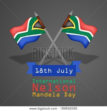 illustration of South Africa flags with 18th July International Nelson Mandela Day Text