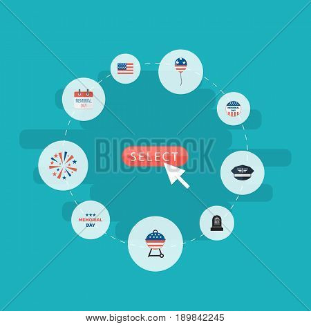 Flat History, Barbecue, Usa Badge And Other Vector Elements. Set Of History Flat Symbols Also Includes Usa, Holiday, Firework Objects.
