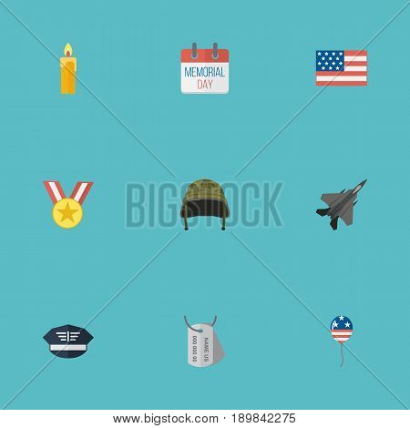 Flat History, Soldier Helmet, Fire Wax And Other Vector Elements. Set Of Day Flat Symbols Also Includes Aircraft, Wax, Medallion Objects.