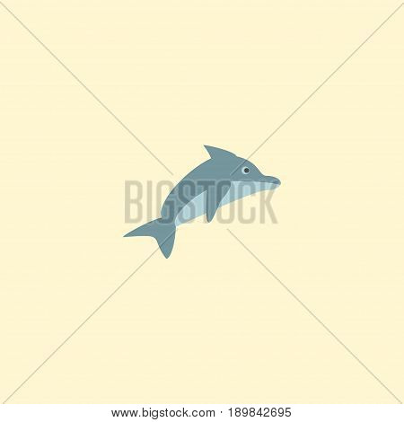 Flat Dolphin Element. Vector Illustration Of Flat Playful Fish Isolated On Clean Background. Can Be Used As Dolphin, Playful And Fish Symbols.