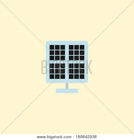 Flat Solar Panel Element. Vector Illustration Of Flat Sun Power Isolated On Clean Background. Can Be Used As Solar, Panel And Photocell Symbols.