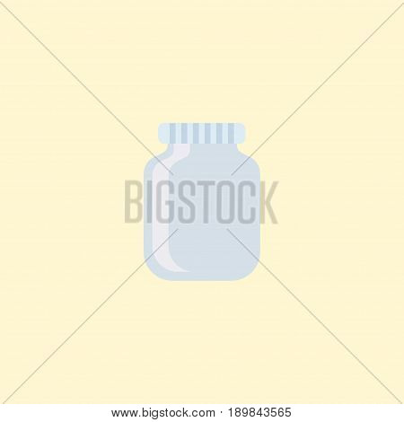 Flat Jar Element. Vector Illustration Of Flat Glass Container Isolated On Clean Background. Can Be Used As Jar, Can And Container Symbols.