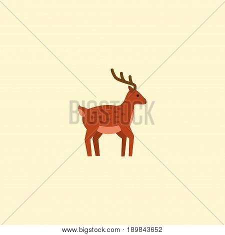 Flat Deer Element. Vector Illustration Of Flat Moose Isolated On Clean Background. Can Be Used As Moose, Deer And Gazelle Symbols.