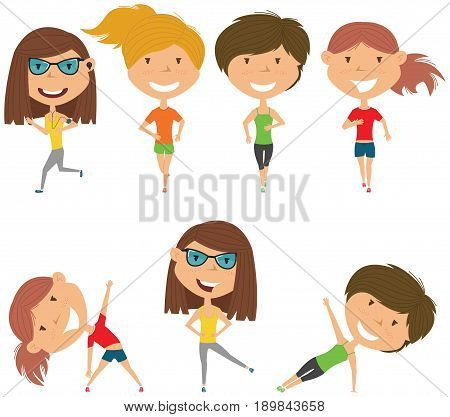 Running girls. Summer female workout exercise: jogging side plank and body exercises. Fitness sport people vector set. Active healthy training outside.