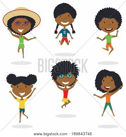 Happy African-American cartoon girls jumping. Vector flat style summer teens playing outdoor. Funny childhood illustration.