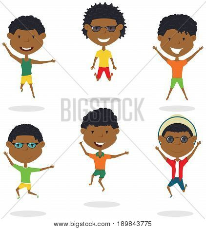 Happy African-American cartoon boys jumping. Vector flat style summer teens playing outdoor. Funny childhood illustration.