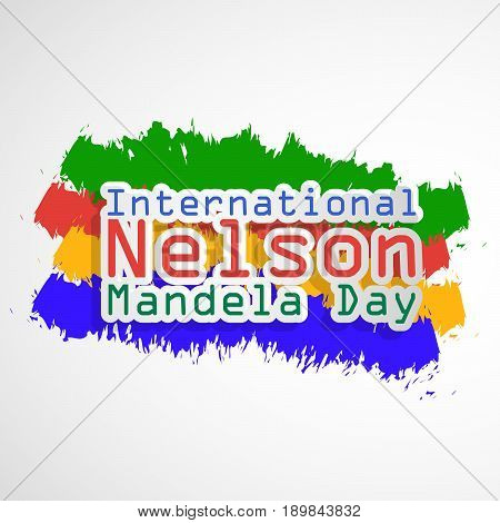 illustration of International Nelson Mandela Day Text on colorful background