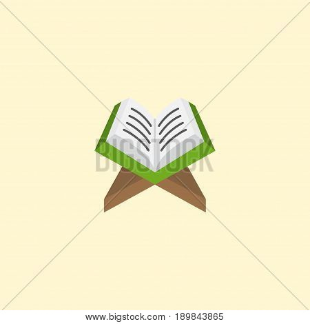 Flat Koran Element. Vector Illustration Of Flat Holy Book Isolated On Clean Background. Can Be Used As Koran, Holy And Book Symbols.