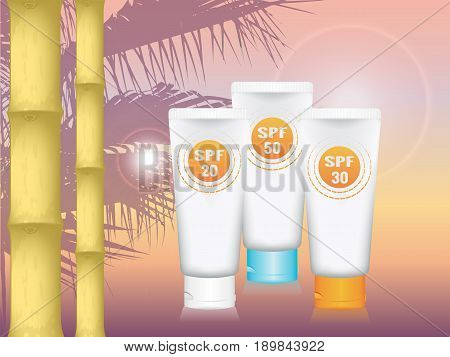 realistic vector cosmetic tubes for cream on a background of palm and South of sunset. three colors SPF