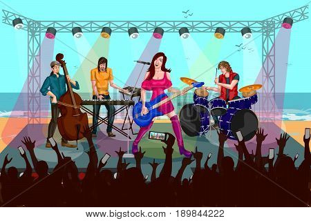 Group of people performing live on Music band concert performance. Vector illustration