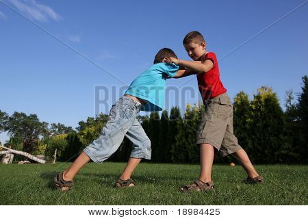 Sibling, two boys, friends boxing. Six and eight old boys  fighting.