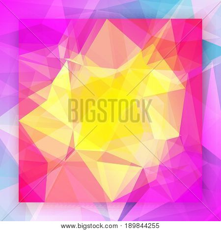 Abstract square triangle background. Vibrant rainbow multicolored polygonal backdrop for business presentation. Bright gradient color transition for application, web. Trendy geometric colorful banner.