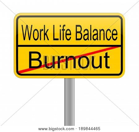 Work Life Balance - Burnout sign - illustration